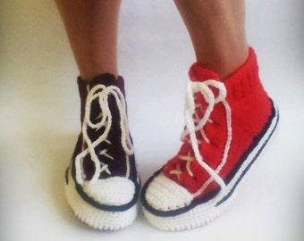 Red Converse Slippers, Crochet Converse, Knitted Converse, Knitted Slippers, Woman Converse Slippers, Crochet Sneakers, Knitted Sneakers