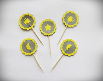 Grey Cake Topper, Cupcake Picks, Party Picks, Party Decor, 24 Cupcake Toppers, Cupcake Toppers, Party Supplies, Summer Party, Sunny Party