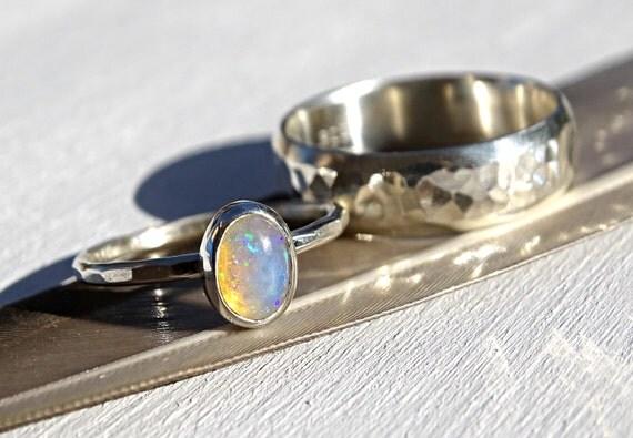 silver opal ring set opal bridal ring set opal engagement ring opal wedding