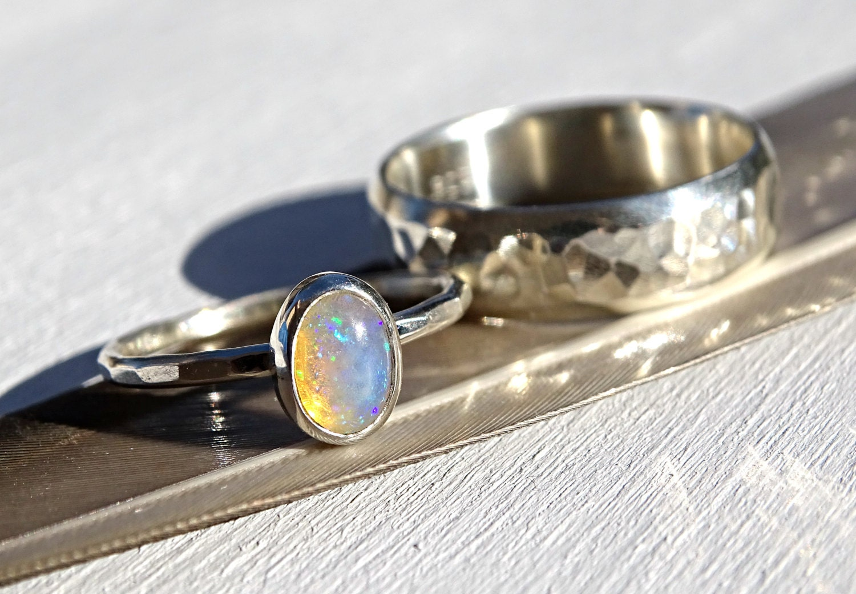 silver opal ring set opal bridal ring set opal engagement