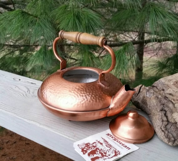 Gregorian Copper Hammered Tea Kettle Teapot By Oldfangledfinds