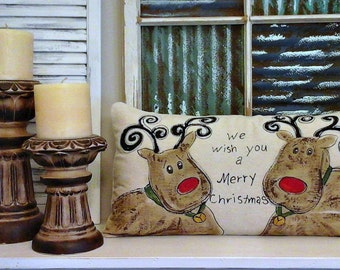 "NEW, ""Reindeer"",  ""We Wish You a Merry Christmas"", Lumbar, Seasonal, Christmas, Hand-painted, Handmade, Red and Green, Pillow Cover, No. 173"