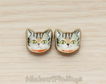 PDT023-01 // Antique Brass Plated Vintage Yellow Eye Cat Picture Frame Metal Bead Charm, 2 Pc