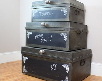 Hand Painted Chalkboard Tin Stacked Metal Chests with Rough Stencils Fleur Des Lis Vintage Style