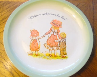 Mother is another name for love.  Hollie Hobbie, 1970s collector plate, vintage dolls, 1972 American Greetings