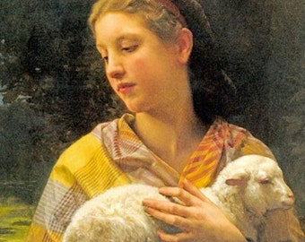 "Innocence, Shepherdess with new lamb, animals religion. 11x14"" canvas art print"