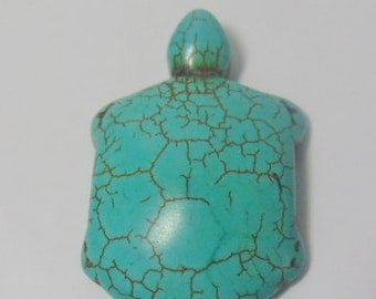 Jewelry making, craft supply.  A Howlite Turquoise Stone tortoise/ turtle pendant