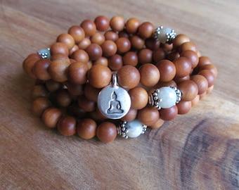 108 Bead Sandalwood Mala Necklace, Mala Bracelet, Wrist Mala, Wrap Bracelet, Long Necklace, Yoga Mala, Beaded Bracelet, Wood Bracelet