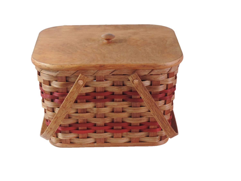 Handmade Small Baskets : Amish handmade small picnic basket w swinging handles