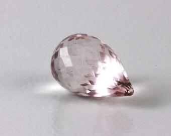 Rose Quartz Briolettes, Faceted Pale Pink Stones, ONE, 15mm to 18mm, Pear Briolettes, Pastel KJ