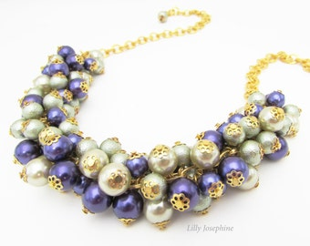Olive Green and Purple Pearl Cluster Necklace, Chunky Bead Necklace, Olive Green Necklace, Green and Purple Bead Jewelry, Olive Green Colour
