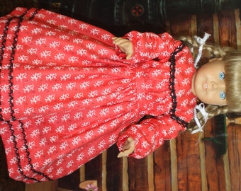 American Girl Civil War Dress in Red with Black