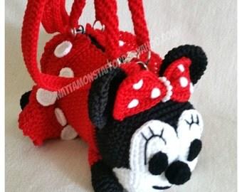 Minnie Mouse with skirt  Handmade crochet handbag  birthday gift, christmas gift,perfect to every girls.