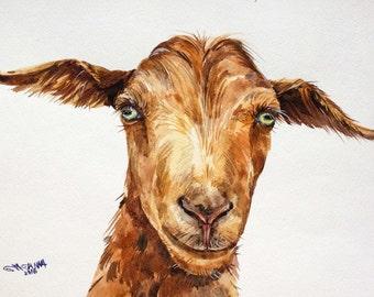 ORIGINAL WATERCOLOR PAINTING Rusty/Brown Facing Goat Portrait, Farm Animal