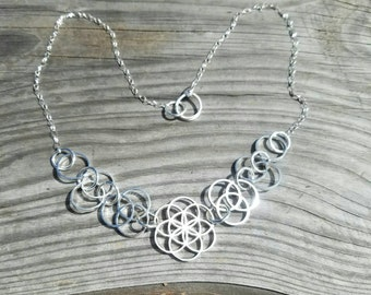 Ascension - Sterling Silver Sacred Geometry Statement Necklace -Seed of Life - Vesica Piscis - Tripod of Life