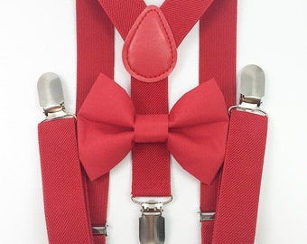 FREE DOMESTIC SHIPPING! Red suspenders and Solid Red Bow Tie toddler boy wedding pictures birthday holiday photos Christmas pictures