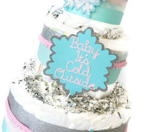 Baby it's Cold Outside Diaper Cake, Centerpiece, Winter Baby Shower