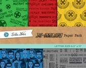 X-Men Letter Sized Paper Pack : 30 Printable Digital Scrapbook Papers