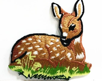High Quality Cartoon Deer (6 x 6 cm) Animal Patch Embroidered Iron on Patch (NTN)
