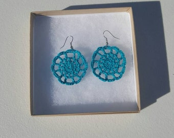 Medallion Earrings in blue  with Gift Box, accessories, circular earrings, handcrafted