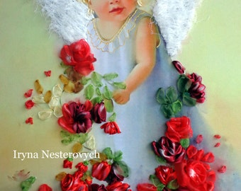 silk ribbon embroidery picture , Angel Embroidery silk ribbons