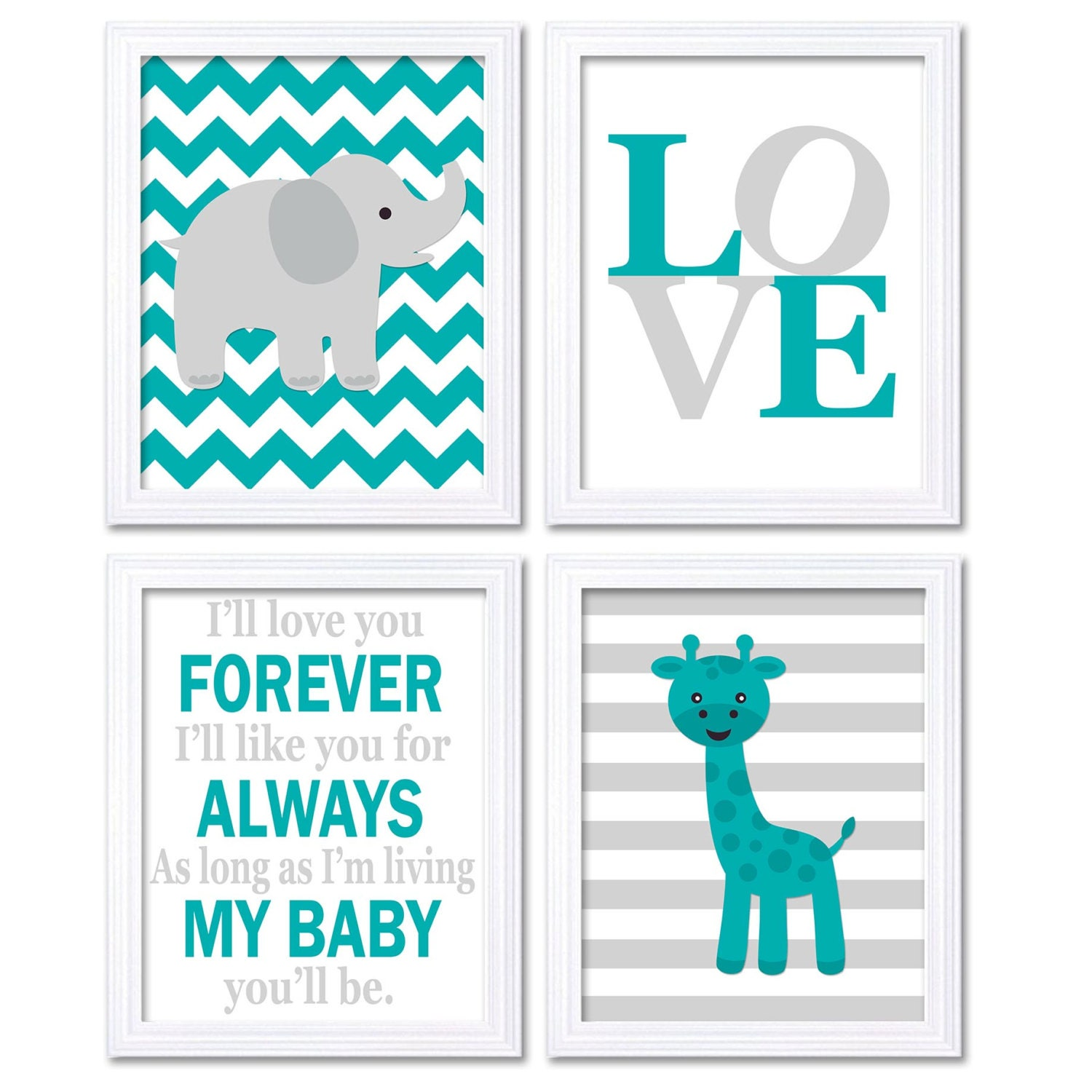 Elephant Nursery Art Giraffe Wall Decor Ill Love You Forever Set of 4 Prints Baby Green Turquoise Gr