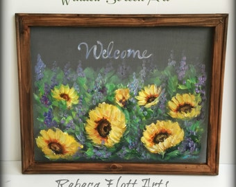 Sunflower Field, Welcome Sign,window screen hand painted,Customize for you