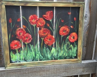 Red poppies gardens,window screen hand painting