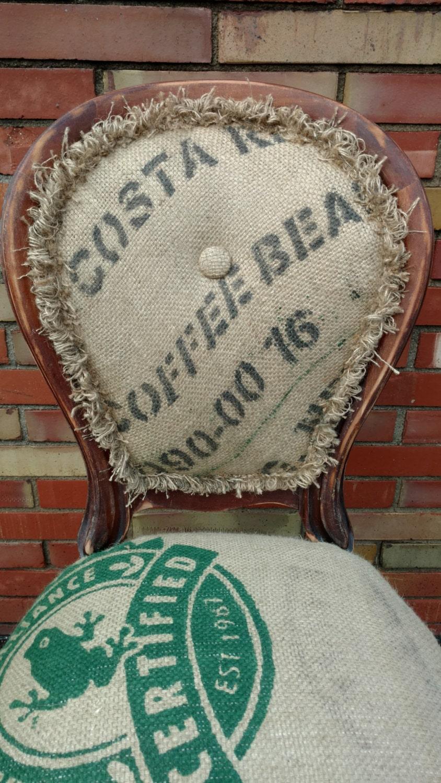 Accent chair burlap coffee bean sack rustic decor for Burlap sack decor