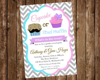 Cupcake Stud Muffin Gender Reveal Invitation