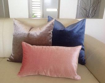 Velvet Cushions, Navy Velvet Pillows Grey Velvet Cushions, Silver Modern Cushions, Blue Velvet Pillows, Grey Velvet Pillow, Toss Pillows