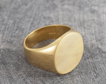 Signet Ring, Gold Ring, Mens Ring, Graduation Ring, Gold Signet Ring, Dad Gift, Round Ring, Classic Ring, Chunky Ring, Fathers Day, 925 Ring