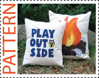 Campfire Pillow Cover Sewing Pattern, Pillow Cover Pattern, Instant Download Pattern, Applique Pattern, No Sew Applique Directions Included