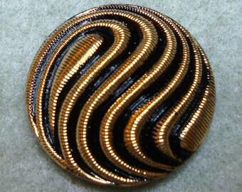 Czech Glass Button 31mm - hand painted - black, gold waves (B32206)