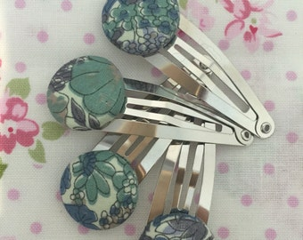 Liberty fabric clips blue flower pattern