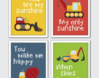 Construction Nursery Art, Construction Room Decor, Boys Construction Nursery, Roller, Cement Truck, Crane, Dump Truck, Excavator, Bulldozer