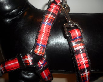 Red Plaid Dog Harness Set!