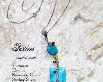 Turquoise blue Howlite Swarovski Crystal Sterling Silver Necklace: Passions