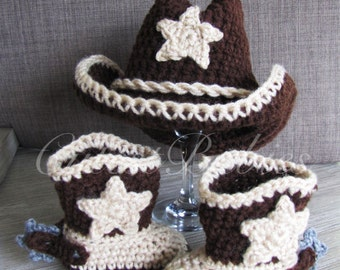 Baby Crochet Cowboy Set, Hat & Boots with Spurs, Photo Prop.