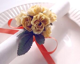 NEW! yellow rose napkin ribbons, napkin rings, housewarming party, handmade, wedding napkin, table decoration, shabby, flower napkin rings