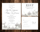 Winter Wedding Invitations; White & Grey; Watercolor Mountains; Printable OR set of 25