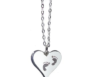 Pregnancy 925 Sterling Silver Pendant Necklace with Tiny Baby Feet on Heart Charm on 18 inch (46cm) Chain Maternity Newborn Birth Jewelry