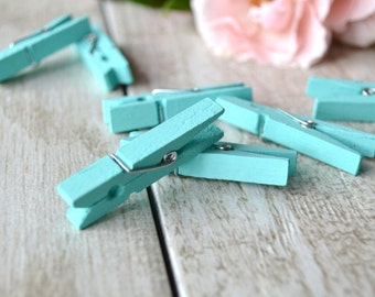 mint mini clothespins, mint hand-painted mini clothespins, baby shower clothespins, wedding favor clothespins- 10 clothespins