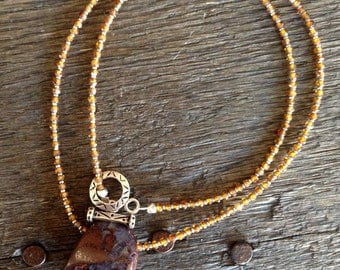 Boulder Opal and Whiskey Zyrcon Necklace