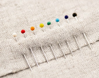 150 Glass Head Pins - Glass Patchwork Pins - Glass Berry Pins - Iron-proof Pins - Glass Pins -Dressmakers Pins - Rainbow Pins -Quilting Pins