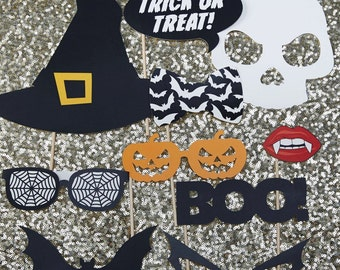 Halloween Photo Booth Props - Trick Or Treat | Halloween Photobooth | Halloween Party | Halloween Selfie Props | Skeleton | Skull | Witch