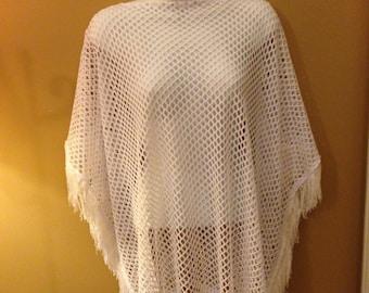 White Summer Net Poncho