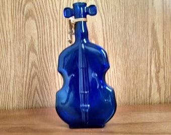 Vintage Avon Cello Decanter, cobalt Blue Cologne Bottle