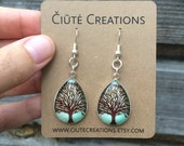 Tree illustration teardrop earrings, glass cabochon, dangle earrings,christmas gift, blue and brown