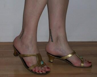 SALE!  Fabulous 1960s gold exotic gladiator sandals US 6 1/2- 7 UK 4 1/2-5 great details